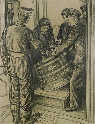 Sailors receiving navy grog