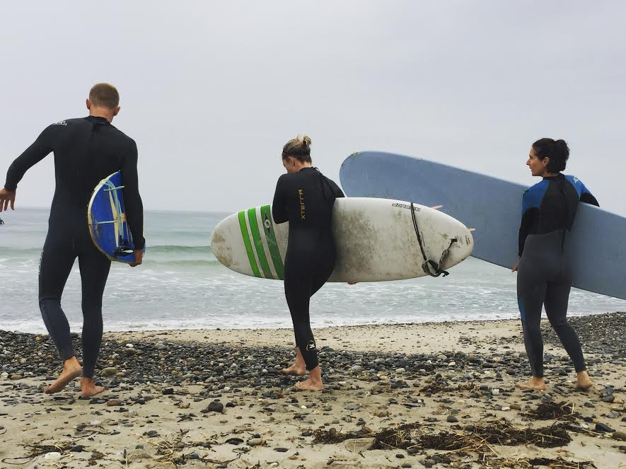 """Scarborough Beach State Park -""""Adventurous surfers on a wet and chilly morning."""" -LAC"""