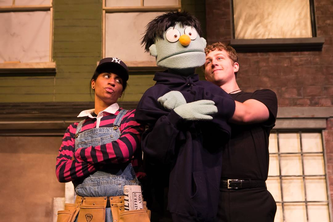 Olivia Orr  as Gary Coleman, and  Shawn Reardon  as Nicky in AVENUE Q at LYRIC MUSIC THEATER!  www.LyricMusicTheater.org  Photo:  Brandon Pullen Photography