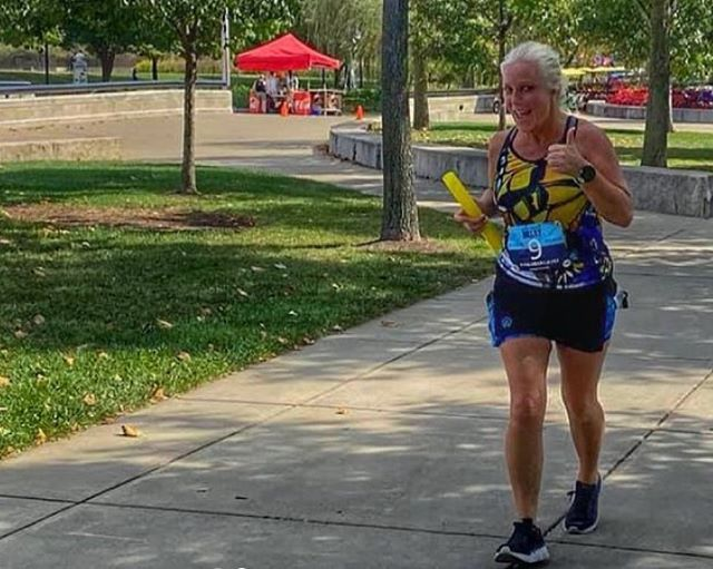 "Jenny's thumb's up and ready to run the #ChicagoMarathon on Sunday. ""I am a friendly person, very bubbly, outgoing, and extremely determined!"" Yes, she is, in fact! Jenny Haynes @jenruns317 has run 26.2 x 9 & 13.1 x 26. She plans to use her @Mindbosa savings to fund her trip to the Windy City.  Good luck, Jenny! You got this!"