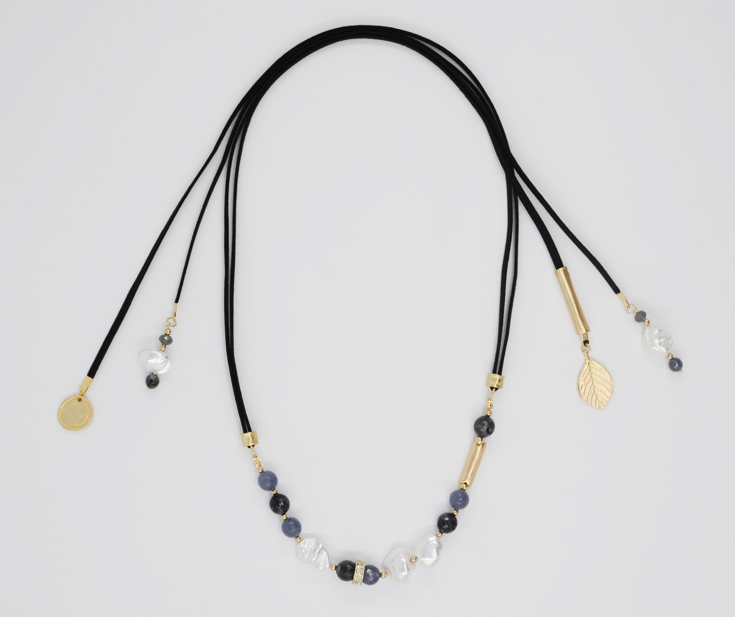 LORETO    Suede, Dust Pearls, Matt Gold Plated Brass, Natural Stones, Length 64 CM, Stone size & Dust Pearls Approx. 1 CM