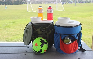 At the soccer game or tailgate party, the shoulder carry strap and pouches makes the Original Boozie Bucket a great sidelines companion.