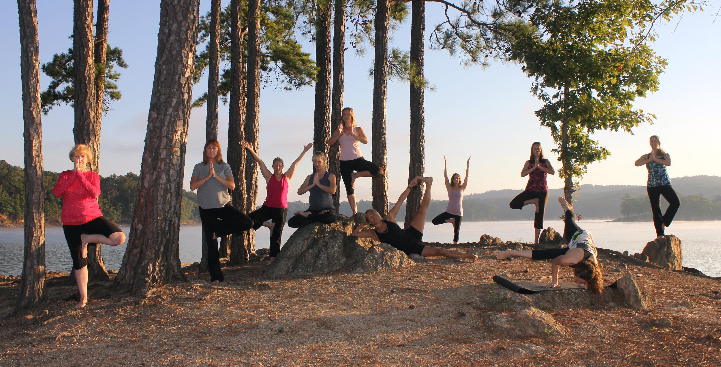 Sunrise yoga on Lake Allatoona.