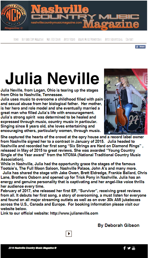 Nashville Country Music Magazine - Julia Neville May 2018.png