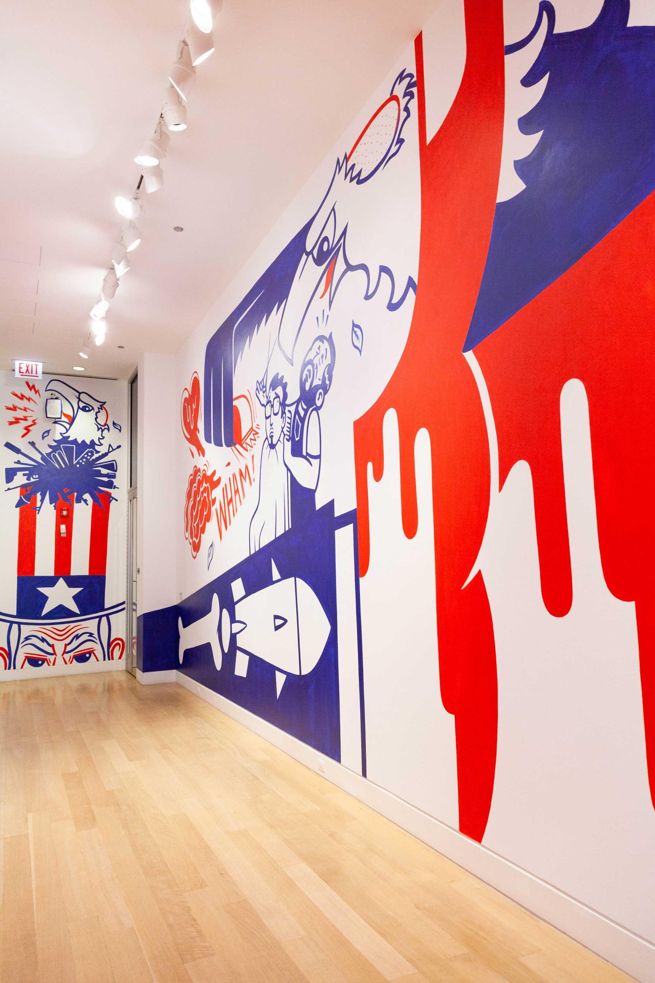 Eric J. Garcia,  The Bald Eagle's Toupee  installation at DePaul Art Museum, 2019.