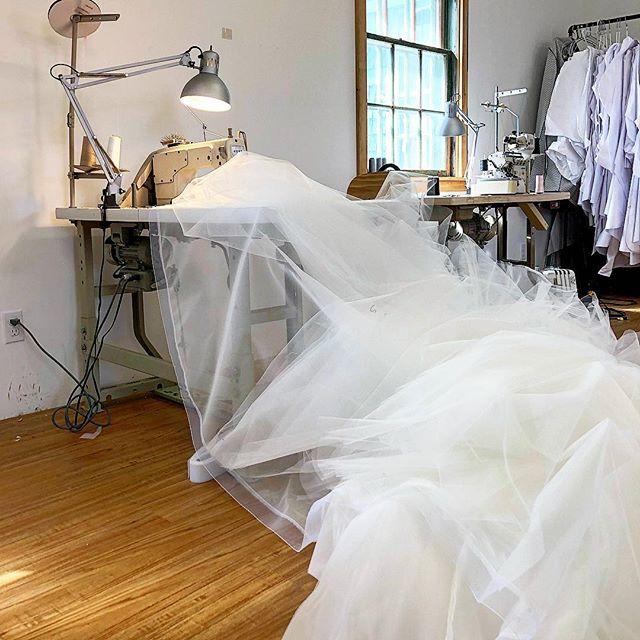 On Mondays we sew mountains of tulle! . . #bridetobe #weddingdress #customweddingdress #tulleweddingdress #ballgownweddingdress #torontobride #ottawabride #countyup #trevorjaybridal