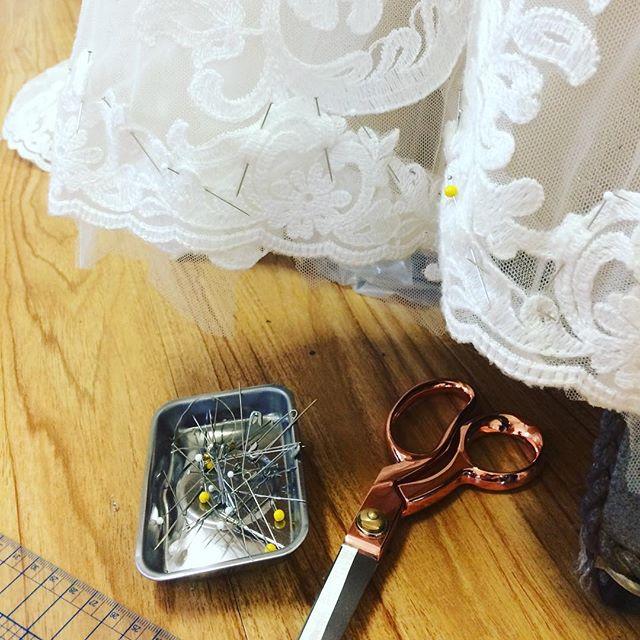 Busy Monday with alterations! Busy reattaching a lace hem!  #weddingdress #customweddingdress #weddingdressalterations #alterations #bridalalterations #laceweddingdress #countyup #pecbride