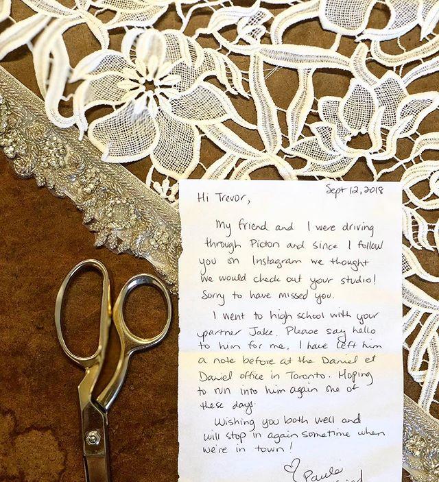 I don't like missing people but I love when they leave little notes!  #weddingdress #wedding #customweddingdress #customdress #countyup  #visitthecounty #princeedwardcounty