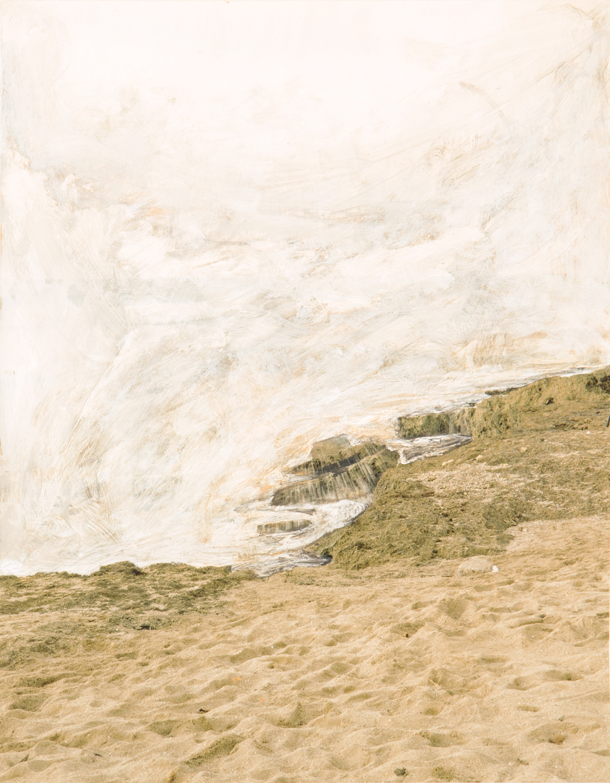 Beach, 2015  12-1/2 x 9-3/4 inches  Acrylic on C-print