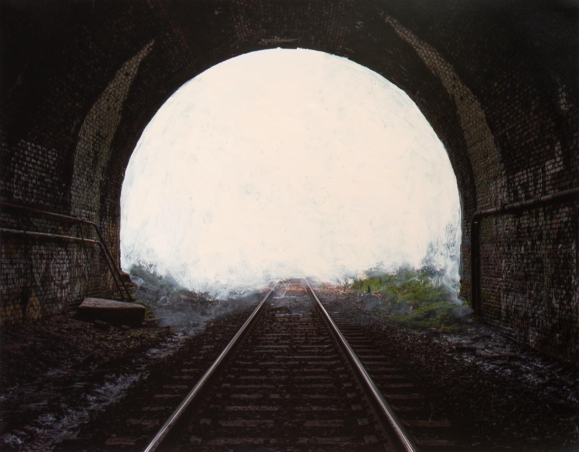 Railroad Tracks, 2019  16 x 20 inches  Acrylic on C-print