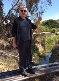 Michal Kravčík Slovakian hydrologist north of Shell Road crossing of Ventura River.