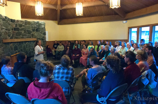 Guest faculty member Molly Sturges leads an exercise at this year's Sitka Symposium. Photo by Christine Davenport. Retrieved from  https://www.artsfwd.org/how-can-storytelling-transform-our-communities/