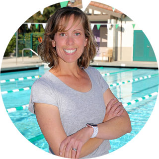 """Coach Laura , Instructor  Laura earned a Bachelors of Science in Biology from Chapman University and her Secondary Teaching Credential from UCI. She taught high school biology for 7 years before having 3 children of her own, currently ages 9, 7 and 4. She enjoys teaching because she loves seeing the joy on a kid's face when they accomplish a new skill they have been striving to achieve. Laura is looking forward to starting her second year as an instructor. She says """"I believe that being around water should be a fun and enjoyable experience and I truly believe every child should learn to swim."""""""