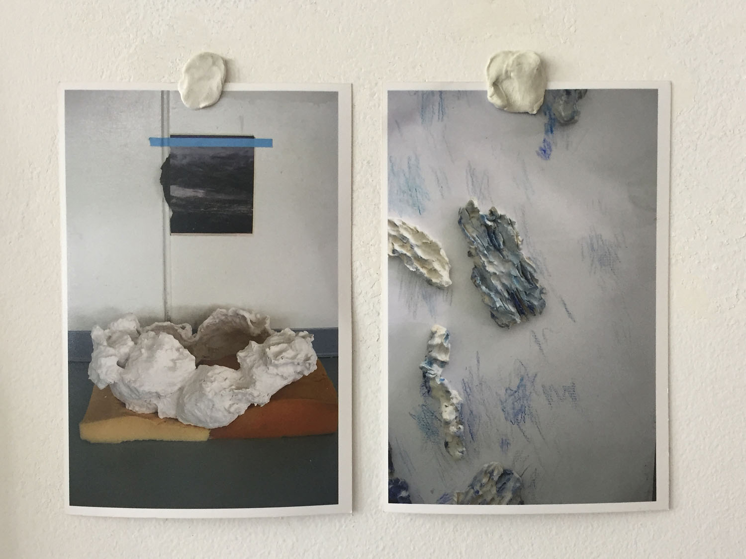 Cloud and Water (diptych) , 2017, digital chromogenic prints, QuakeHold!, 7 x 10 inches