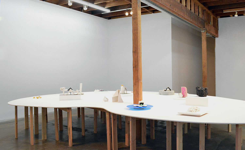 Echo  exhibition, (installation view), Walter Maciel Gallery, 2014, glazed ceramic, hydrocal, newspaper, flocking, flashe, acrylic, photographs, leaves, spray paint, laminate, wood stick, MDF, size variable