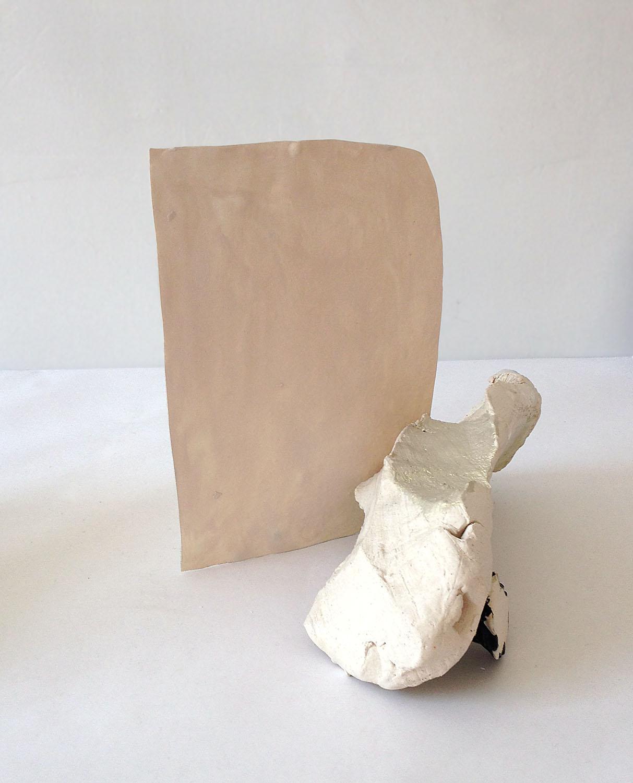 Fleshy , 2014, flashe and acrylic on porcelain, acrylic on glazed ceramic, 11 x 10 x 12 inches