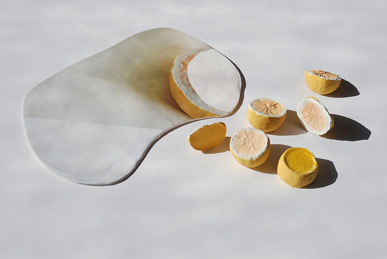 Lemon Tree Thud , 2014, acrylic imprinted on porcelain, glazed ceramic, flashe paint, hydrocal, flocking, 2.5 x 19 x 24 inches
