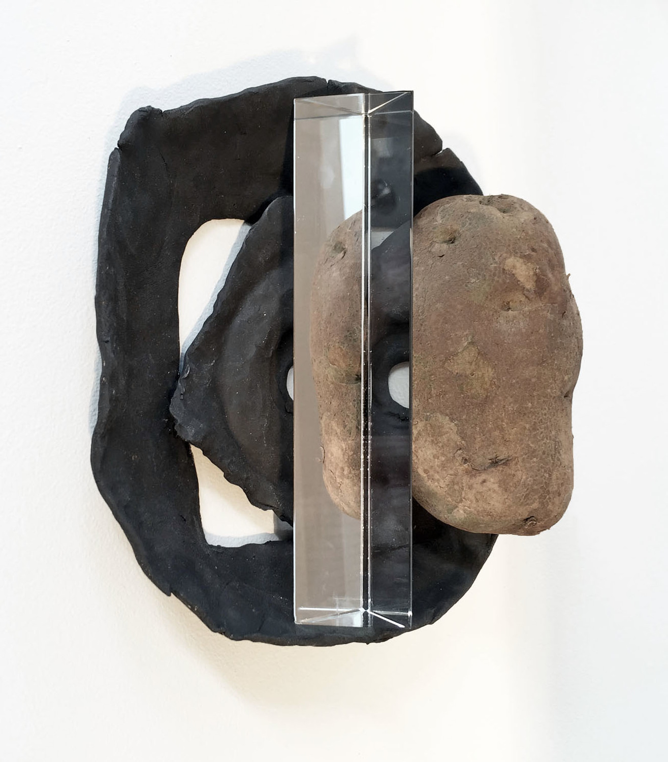 Harvest , 2015, ceramic, glass prism, potato, 4.5 x 9 x 7.5 inches
