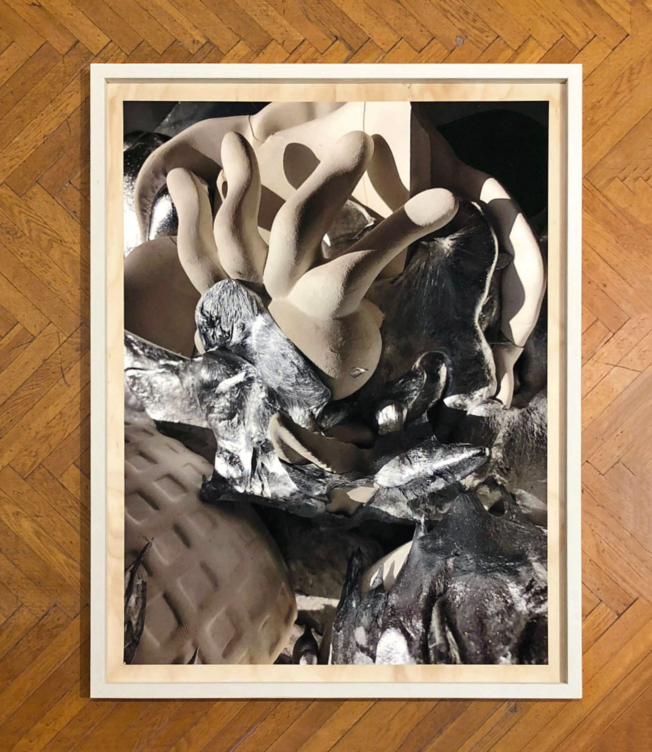 Incident , 2018, archival pigment print on paper, wood, latex paint, 63 x 49 x 3.5 inches
