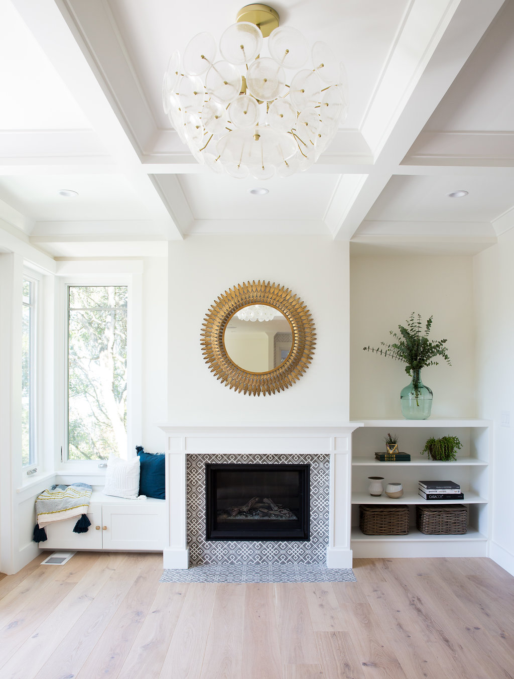 Love & Interiors Berkeley Modern Craftsman Fireplace with Cement Tile and Built-Ins and Tray Ceiling - Brass Mirror and Light.jpg