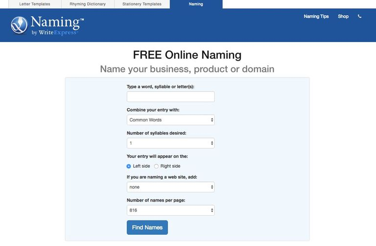 Naming   Free online naming for your business product or domain.