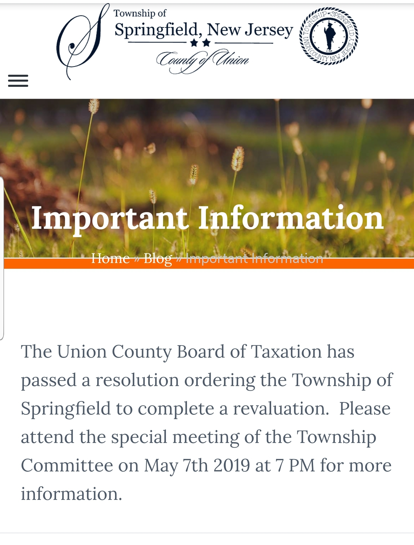 Official News from the Township of Springfield, NJ - Click the direct link to the Township of Springfield's official website below for more details and other Springfield news