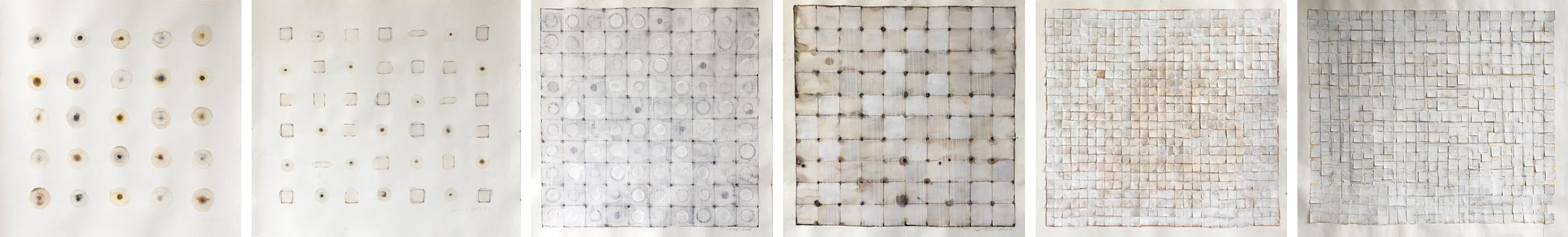 IMAGE ABOVE: Ronald Chase,  Decayed Circles , 2016, 4 x 4 feet, Watercolor, plaster, ink, acrylic on paper
