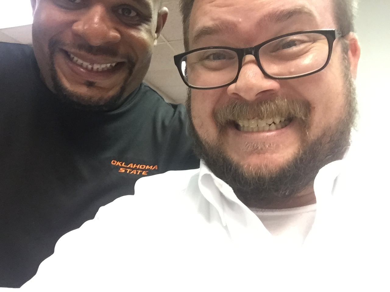 The author hamming it up with Sam Mayes of KRXO 107.7, The Franchise -