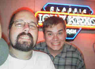 The author in the KRXO studio with a friend circa late-90s. - Rob Kalkman and Jake Fisher at 400 E. Britton Rd.