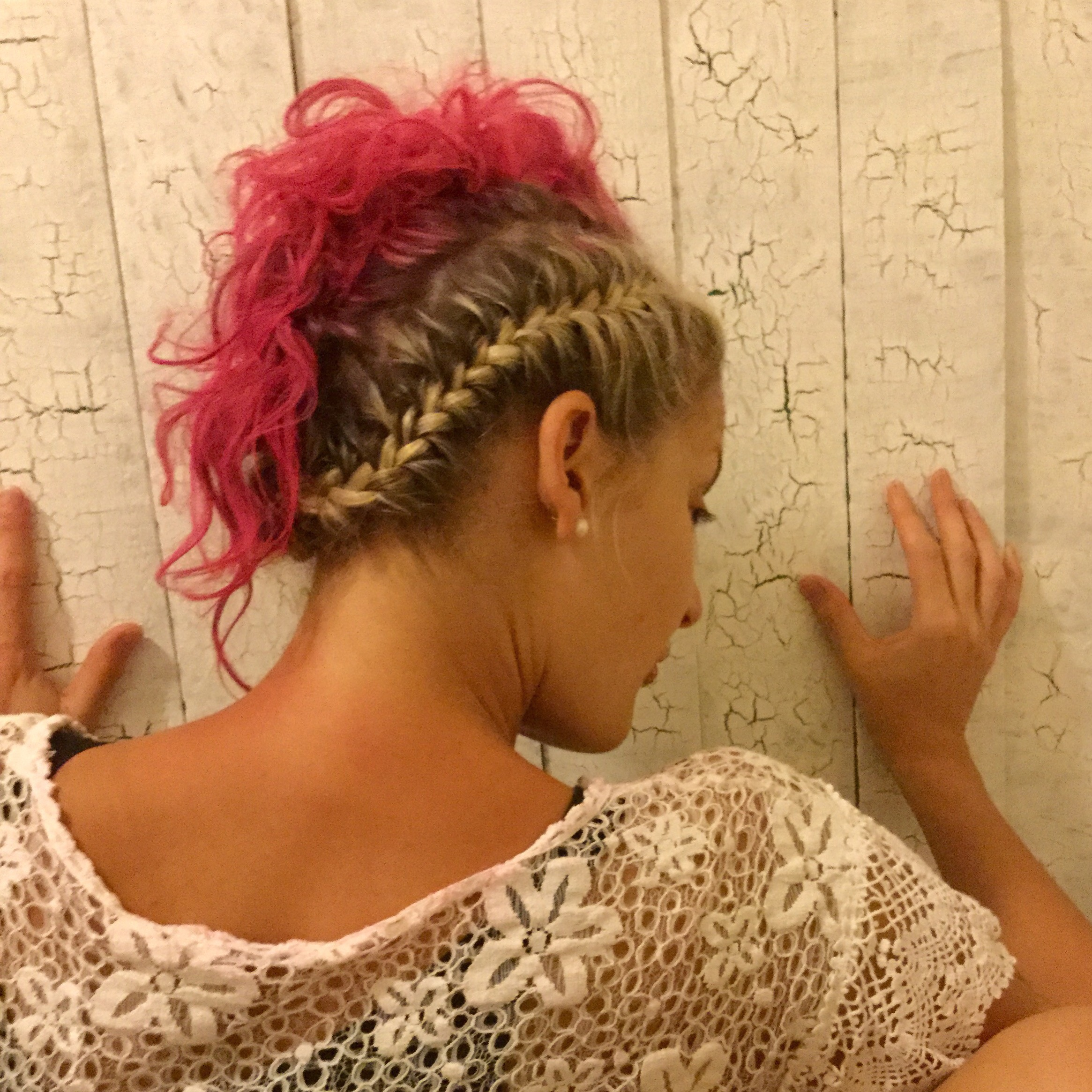 Fun updo - Using washable colors, and different textures to create a unique party look.