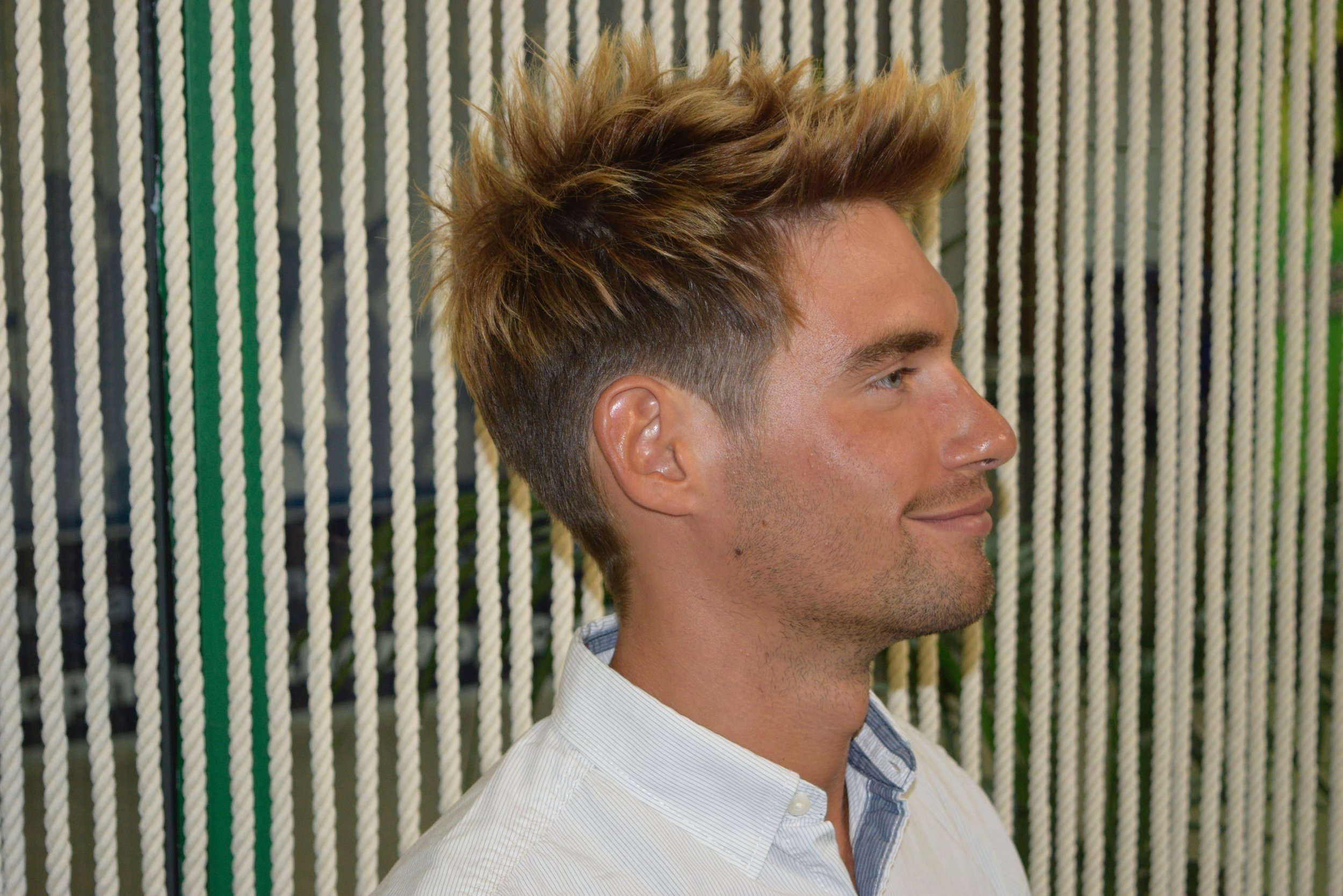 Colour & Haircut -tailored hairstyle, using only scissors,keeping sharp edges with texture length on top.