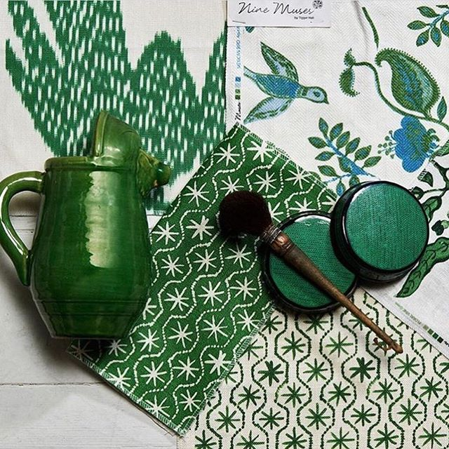 Garden Green | Loving this gorgeous vignette from @ninemusestextiles 💚🌿 Can't wait to incorporate this range into my projects #scheming #interiordesign