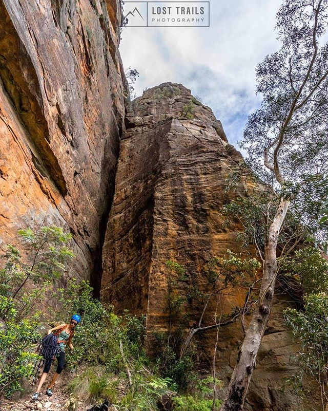 @lasimus getting ready for her first ever multi-pitch, heading straight back up the pillar behind her for 120m of epic climbing.  #bluemountains #nsw #climbing