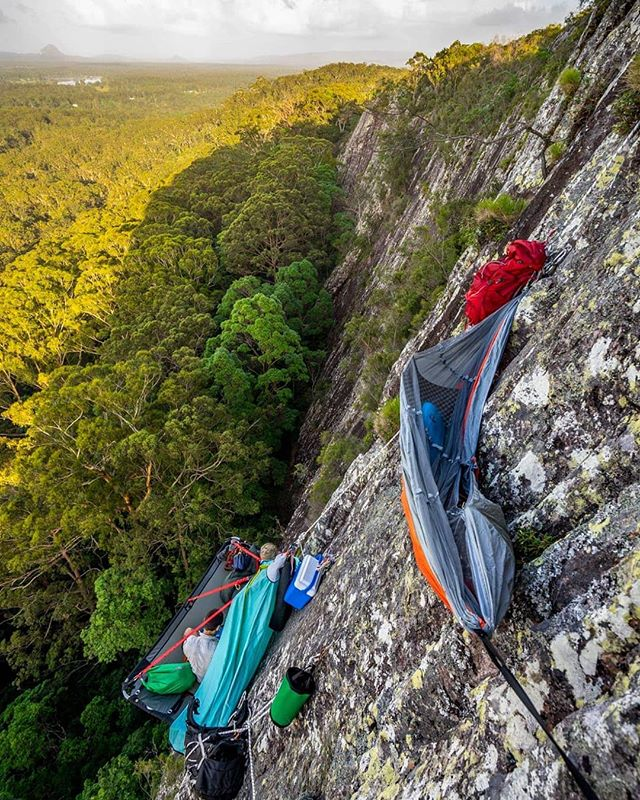 How'd you bring in your New Years Eve? .  @drdirtbag, @timtamadventureman and I decided we'd hang out on a portaledge and watch the fireworks over @visitnoosa all night. .  Sleeping in a hammock on the side of a cliff was pretty epic, but Tim's coffee the next morning was even better. .  #climbing #noosa #portaledge #nye #australia #queensland #visitqld #explorequeensland #newyearseve #mates #pizza #beer