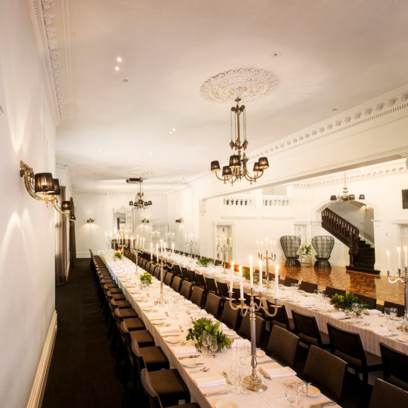 DINING ROOM - A dramatic yet neutral space, a beautiful canvas for any event. Funk it up with festoon lights & long tables or take a classic path with white linen & Georg Jensen candelabra. Soaring ceilings over a vast parquetry dance floor. Spectacular for dining & dancing.