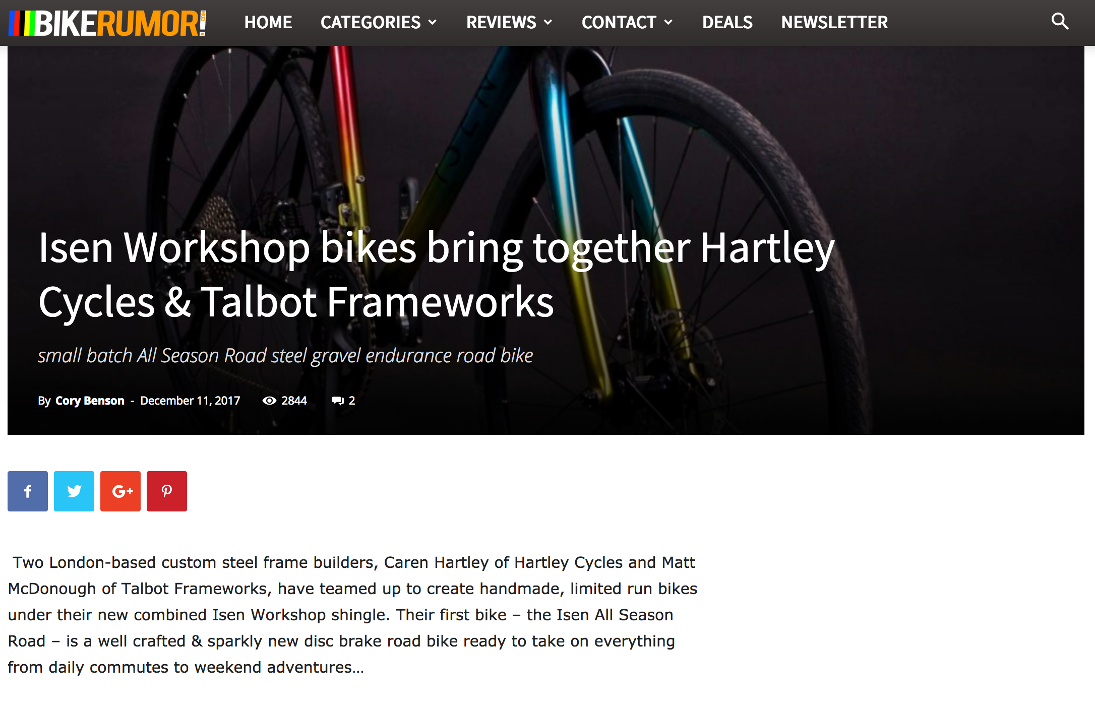 Bike Rumour   Isen Workshop Brings Together Hartley Cycles & Talbot Frameworks