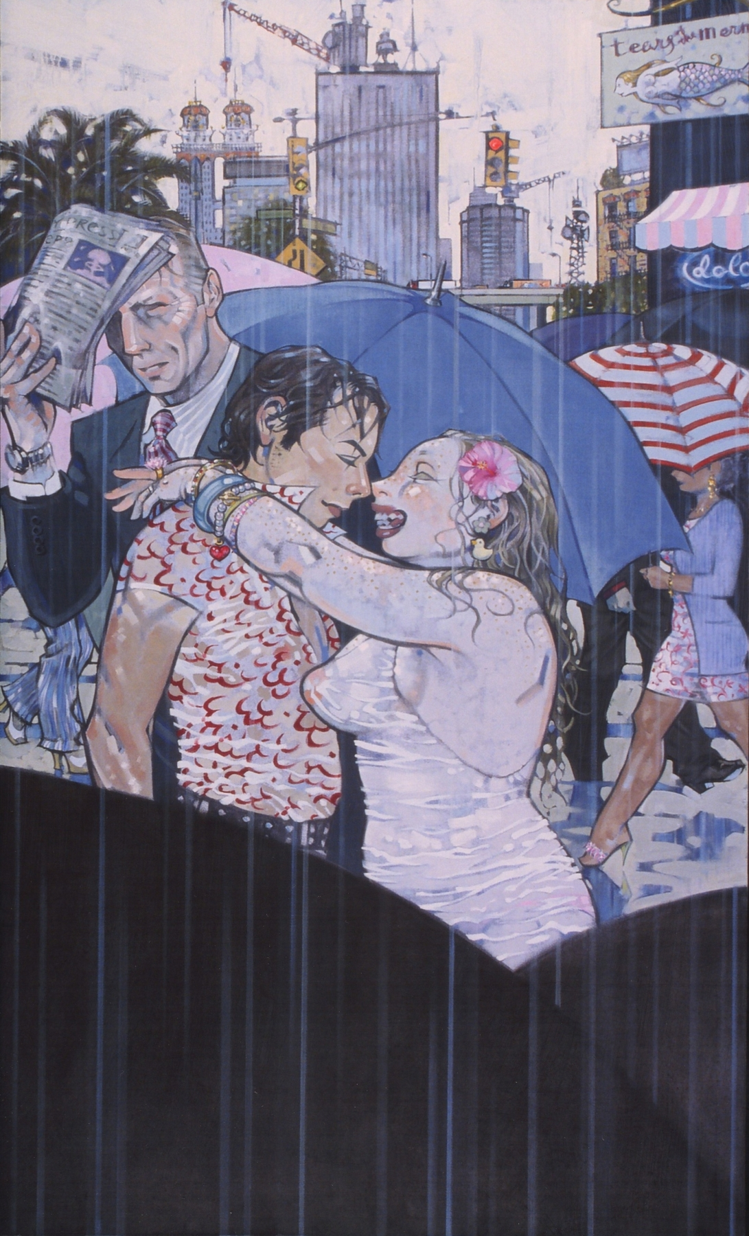 Kiss, 2002, oil on canvas, 68.5 x 40.5 inches, by Taiyo la Paix