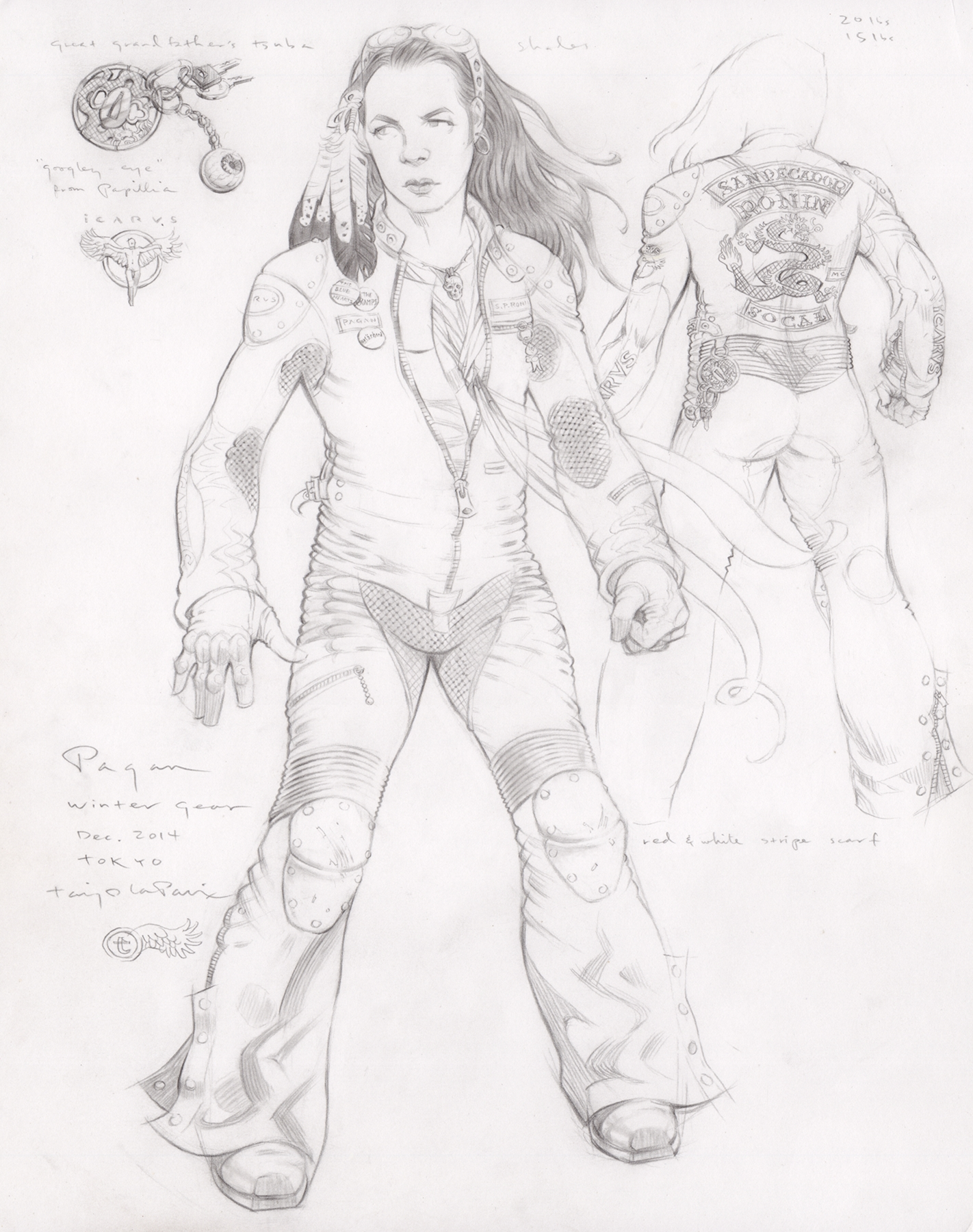 Pagan, Winter Gear, 2015, pencil on paper, 14 x 11 inches