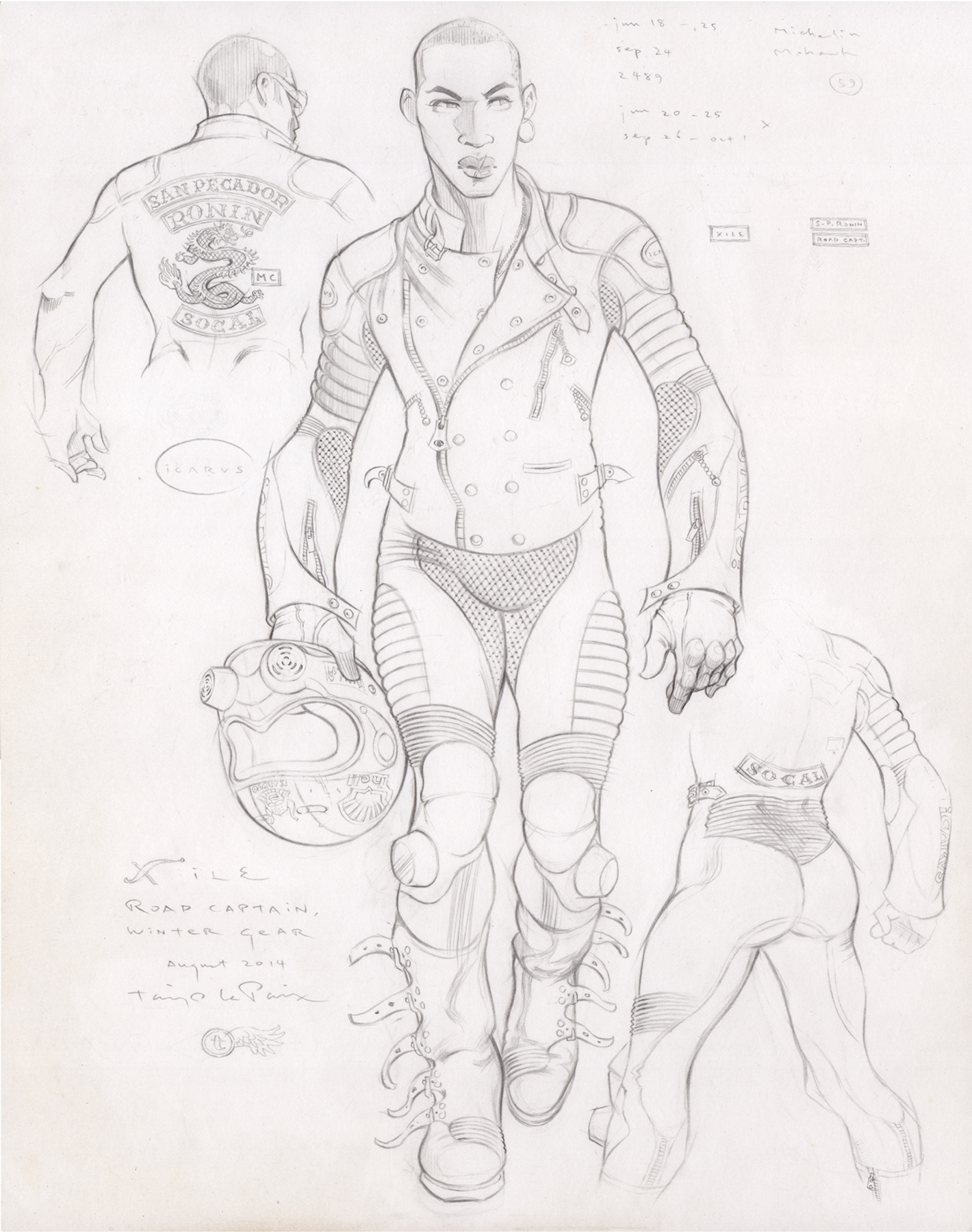 Xile, Winter Gear, 2014, pencil on paper, 14 x 11 inches