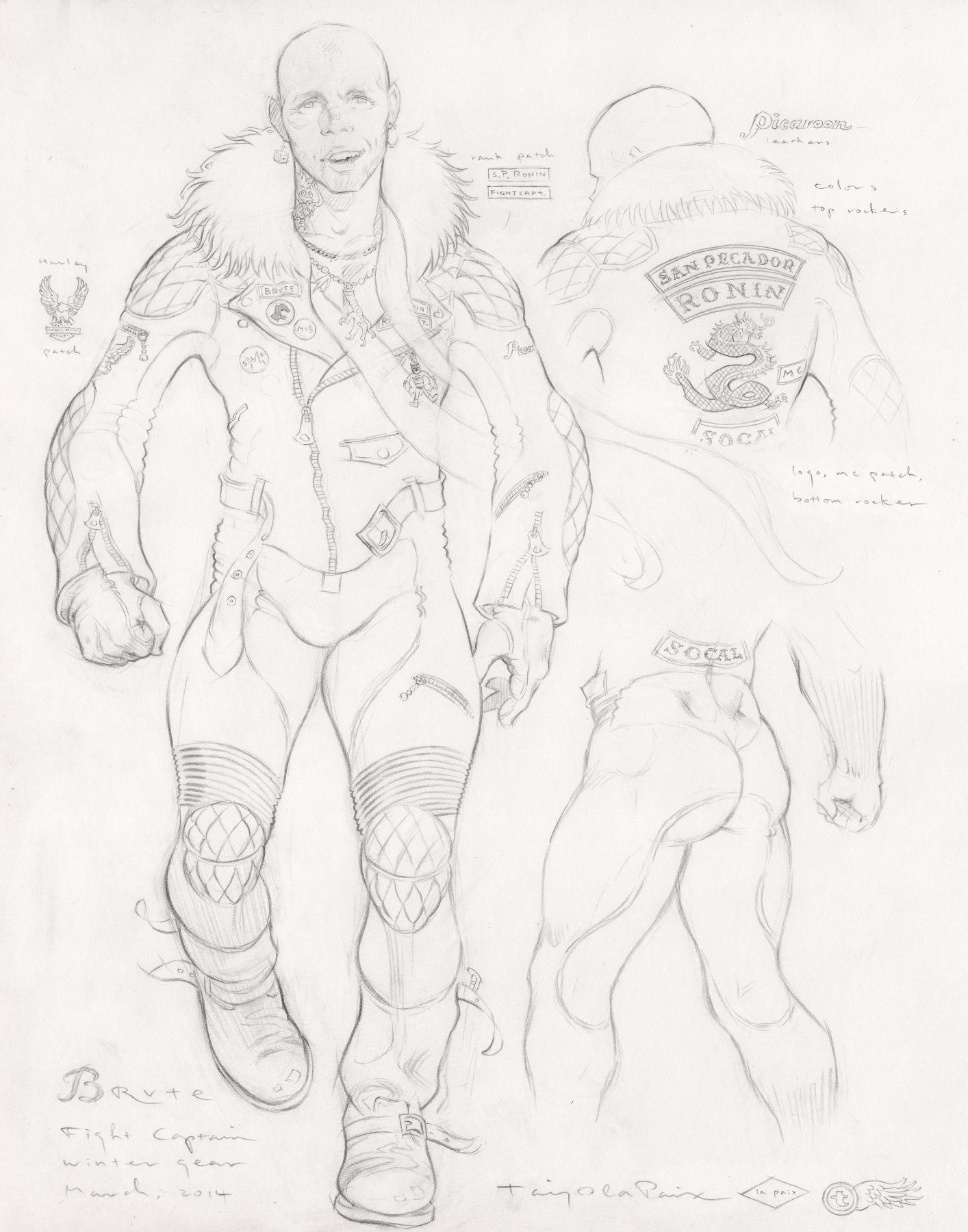 Brute, Winter Gear, 2014, pencil on paper, 14 x 11 inches