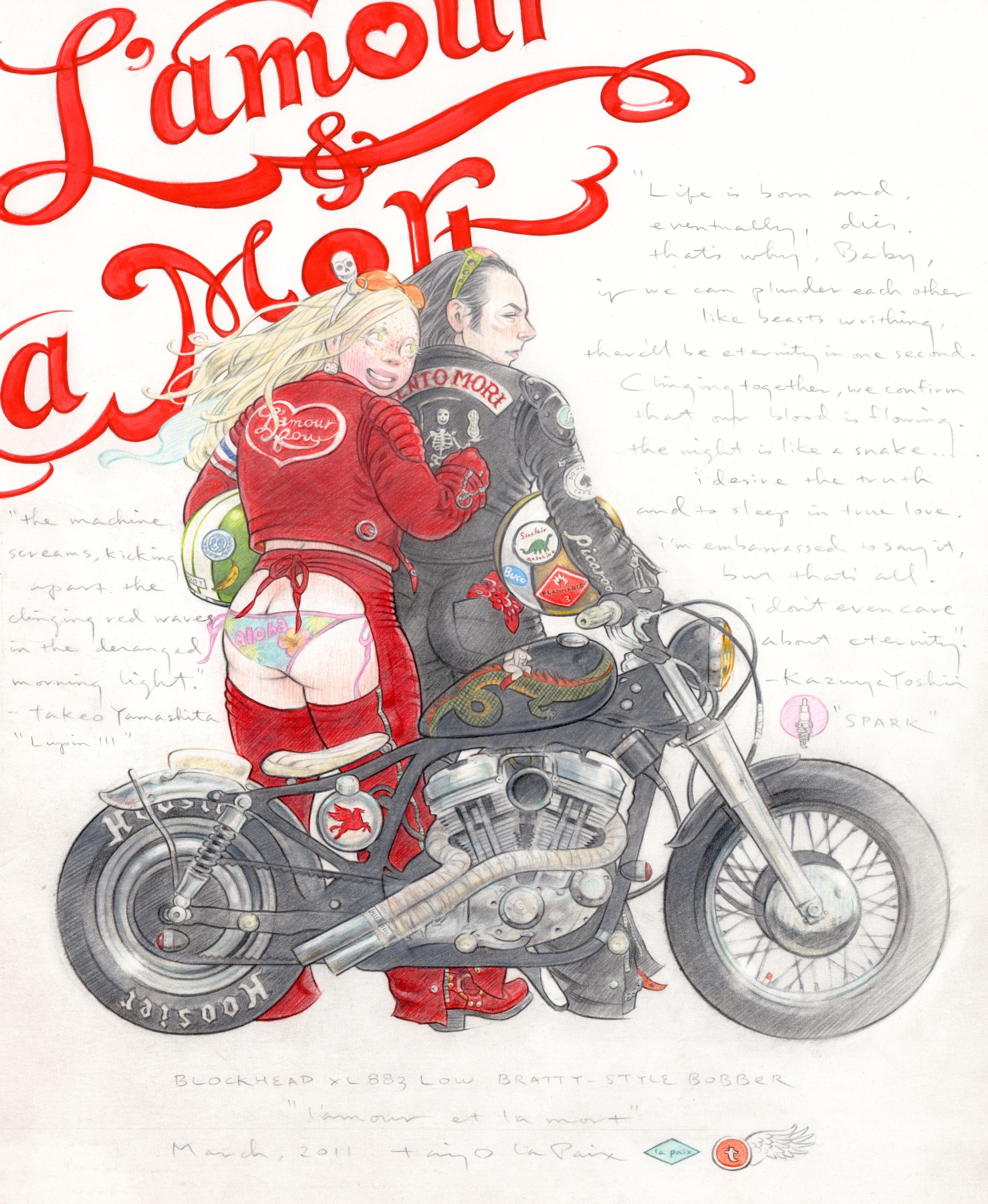 L'amour et la Mort, 2011, pencil and ink on paper, 13 x 11 inches