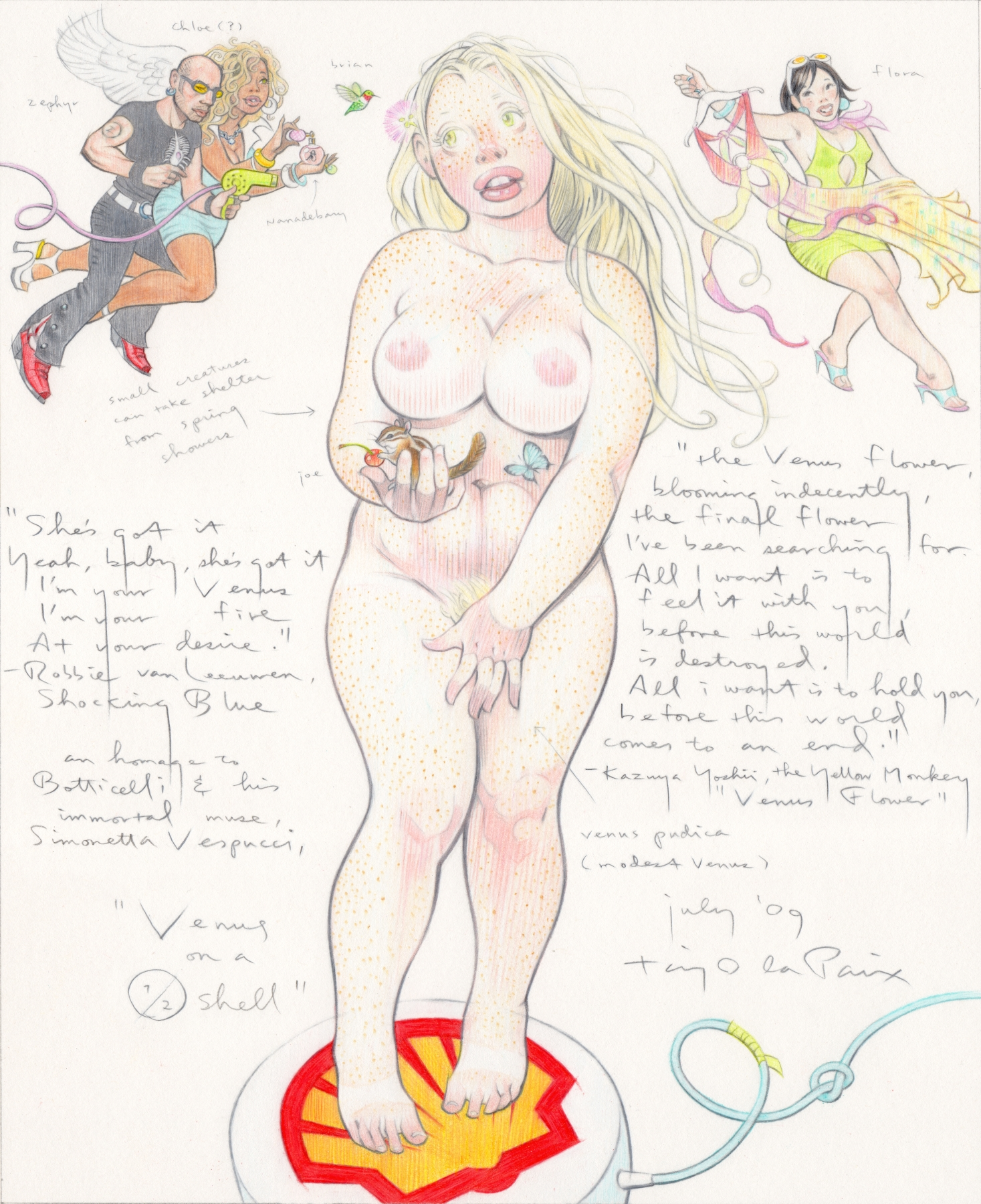 Venus on a Halfshell, 2009, pencil on paper, 12 x 10 inches,  courtesy of Rucker Wells