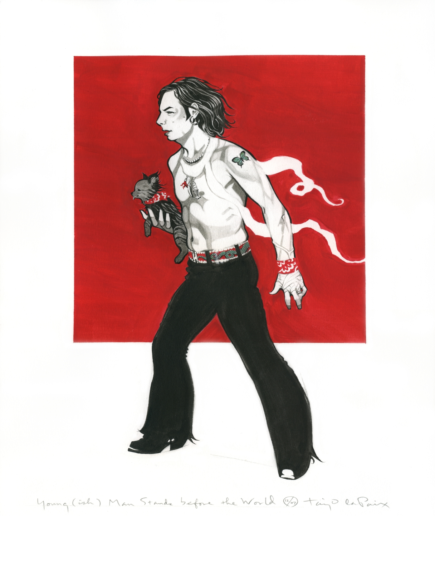 Young (ish) Man Stands before the World, 2007, ink and gouache on paper, 13 x 10 inches