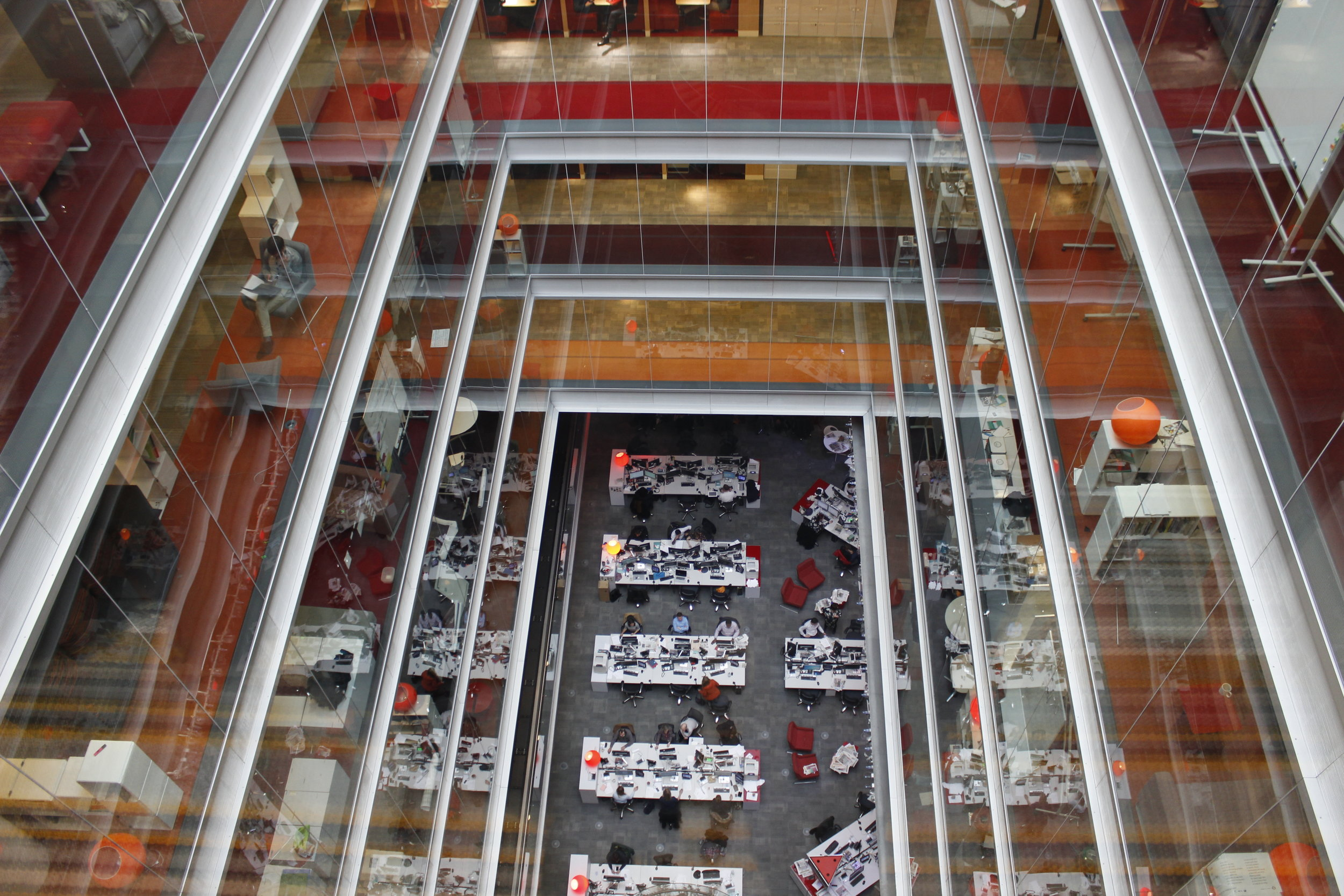 Atrium view of the BBC's Newsroom in Central London during our Big Data for Media Tour in 2017.
