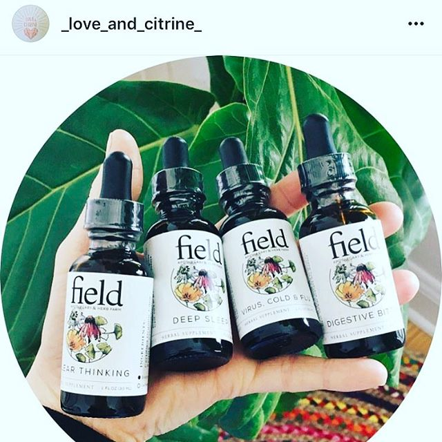 """Our field logo doubles as """"held"""" seen here in one our of stockists photos @_love_and_citrine_  We work with a small group of amazing retailers primarily due to the limited number of remedies that we produce. We are forever grateful to work with them!"""