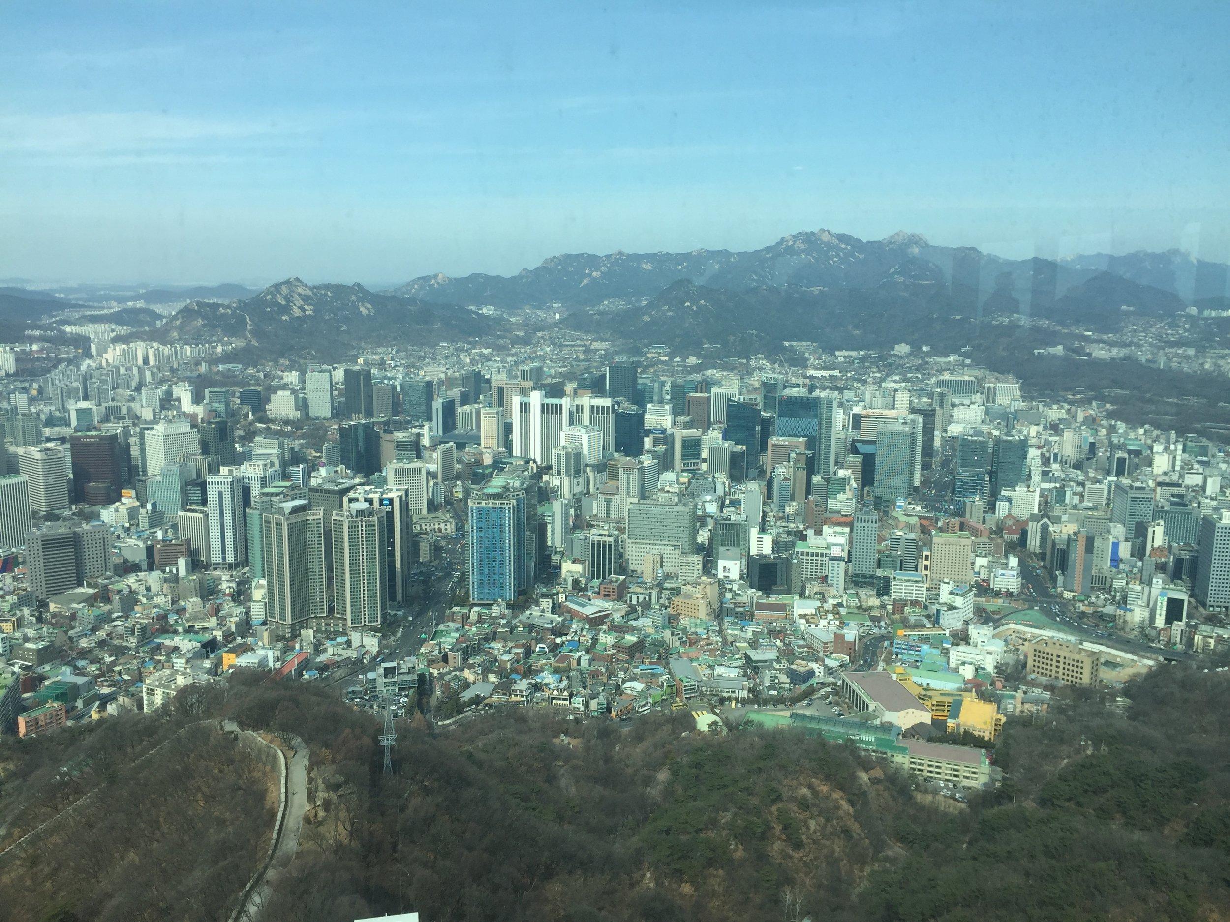 Výhľad z N Seoul Tower na Soul