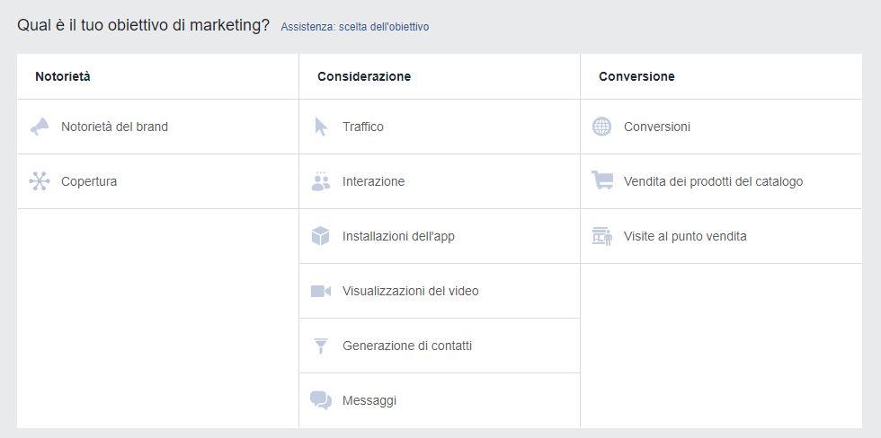 selezione degli obiettivi di marketing nella creazione di una campagna su facebook
