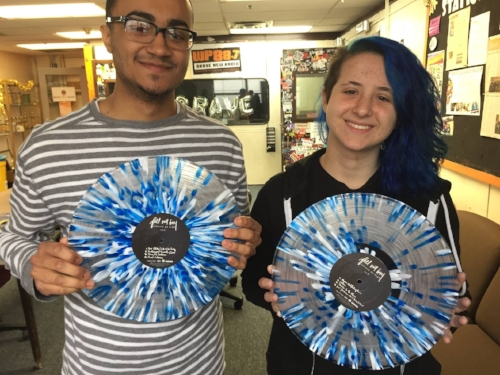 Pop Punk enthusiasts Joel Carrasquillo & Ashley Weltner showing off the stylish Fall Out Boy vinyl record!