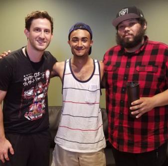 Jon Mess (left) & Will Swan (right) hang with cheesy Joel
