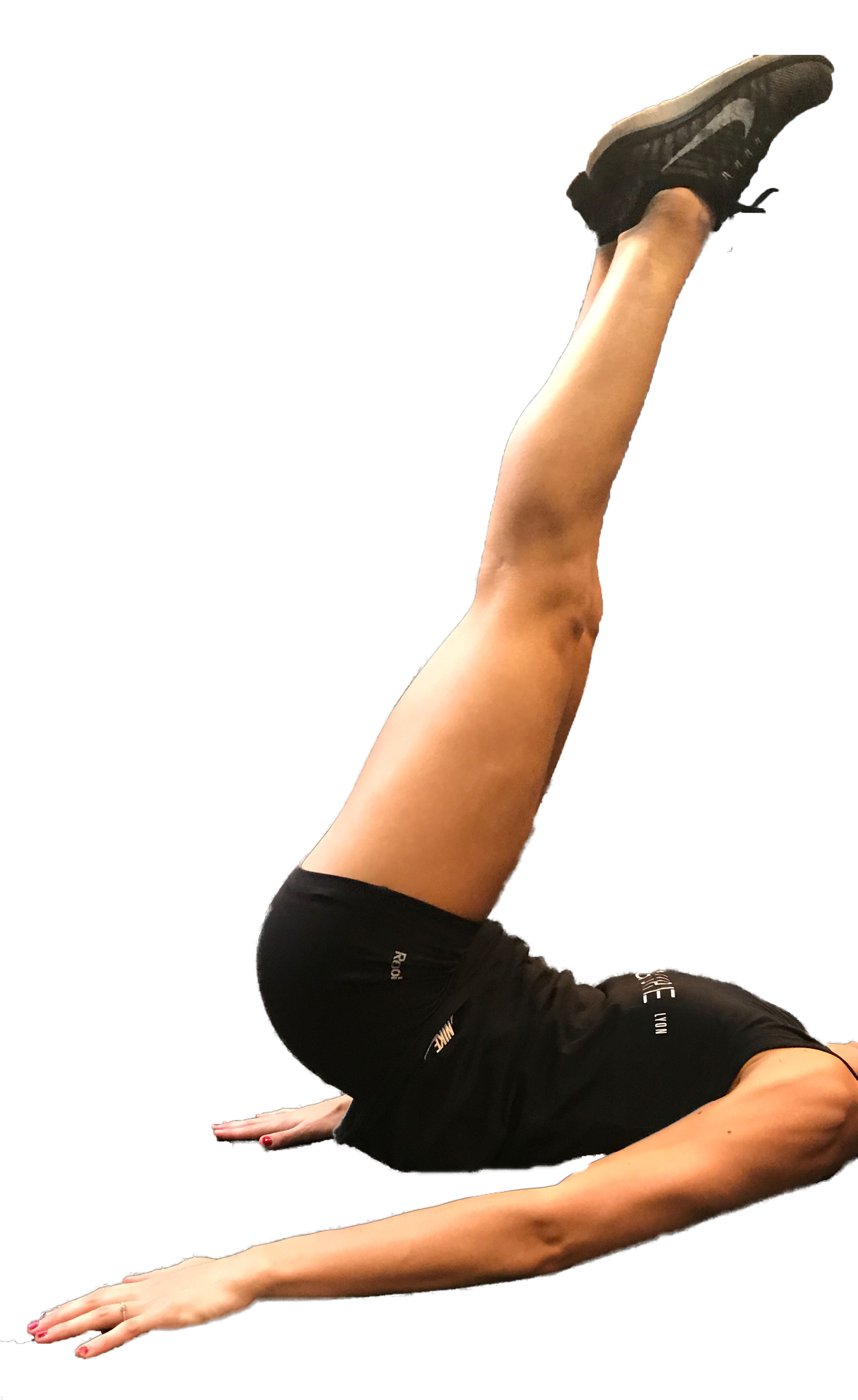 - Reverse Crunch : allongez vous sur le dos les bras le long du corps, bassin rétroversé, région lombaire ancrée dans le sol, montez les jambes à 90°, levez les fesses vers le haut et vers l'arrière. Contrôlez le retour en conservant le bassin rétroversé.